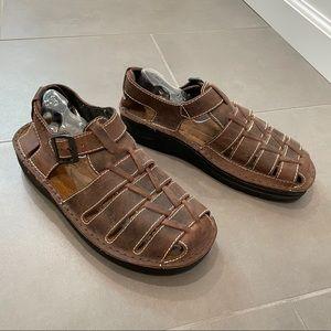 NAOT Julius Men Brown Leather Fisherman Sandals 41